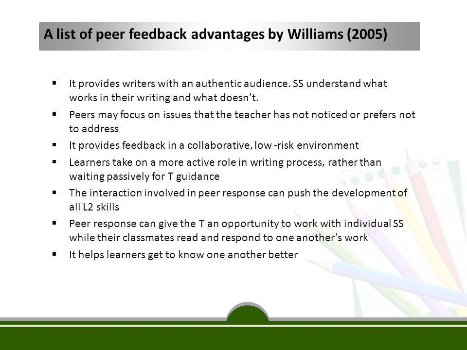 Limitations and Recommendations Limitations:  Not a longitudinal study  Small scale of participants  inclusion of a larger number of teacher and SS participants  Only two writing genres Recommendations:  Whether checklists/rubrics/forms should be used  More elaborate comparison between the effectiveness of teacher and peer feedback