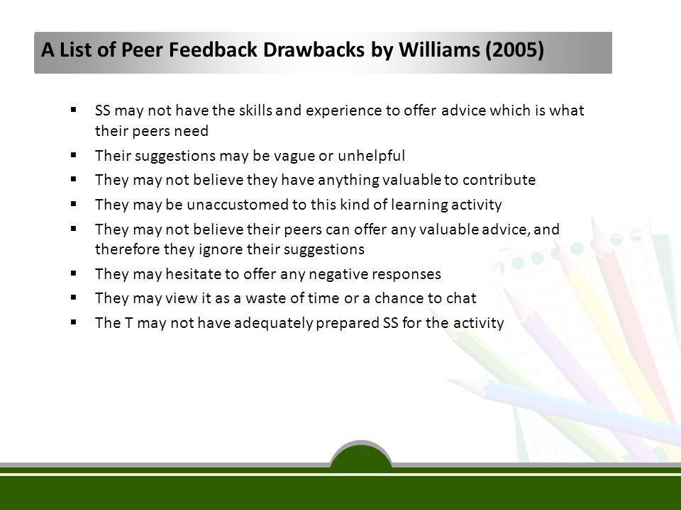 Previous Studies Questioning the Effectiveness of Peer Feedback Ferris and Min (2008), Hedgcock (2005), Rollinson (2005), Hinkel (2004), Saito and Fujita (2004), and Hyland (2002) believe that:  EFL SS will always question the purposes and advantages of this technique which is true with SS who are accustomed to teacher-fronted classroom.