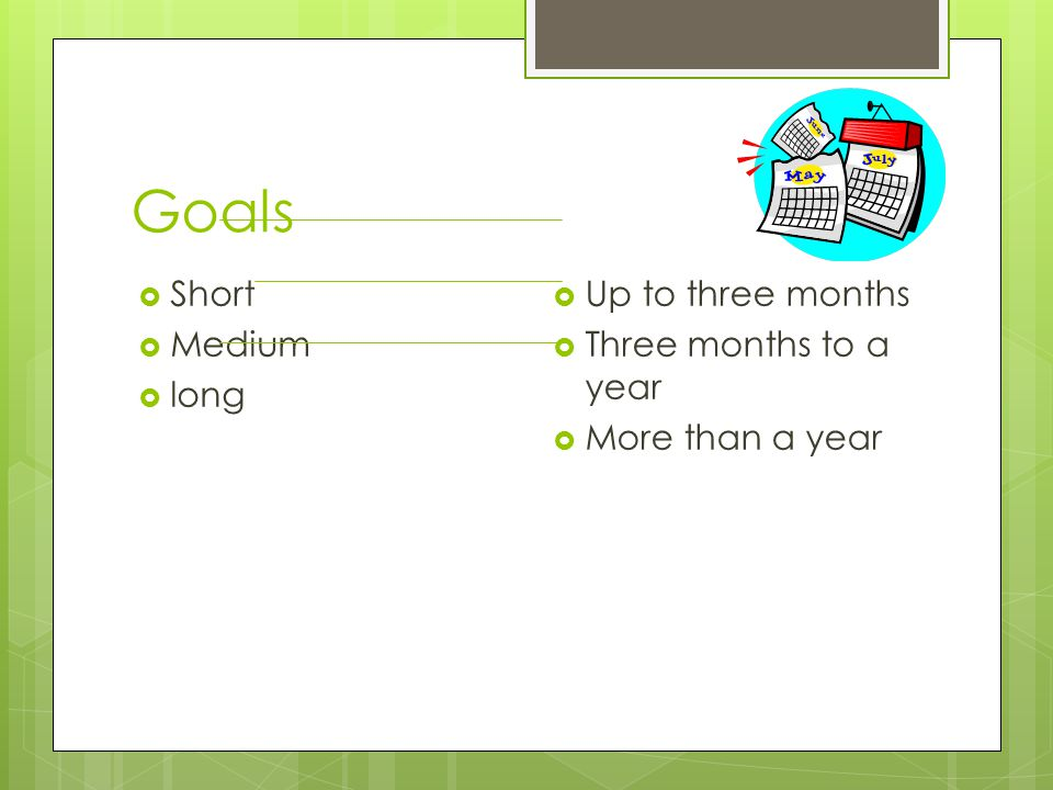 Goals  Short  Medium  long  Up to three months  Three months to a year  More than a year