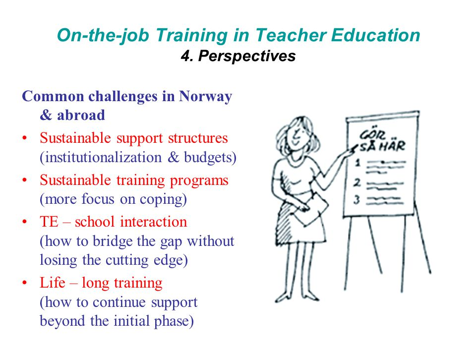 On-the-job Training in Teacher Education 4.