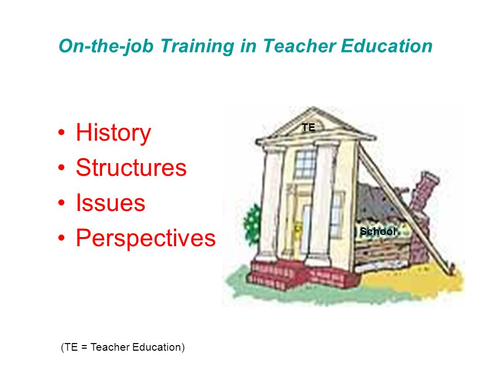 On-the-job Training in Teacher Education History Structures Issues Perspectives School TE (TE = Teacher Education)