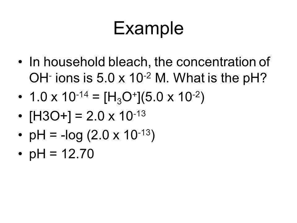 Measuring pH Use acid-base indicator Indicator equation HIn (aq) + H2O (l) H3O+ (aq) + In- (aq) clearred Add acid, shift equilibrium to left –(litmus – HIn red) Add base, shift equilibrium to right –(litmus – In-blue)