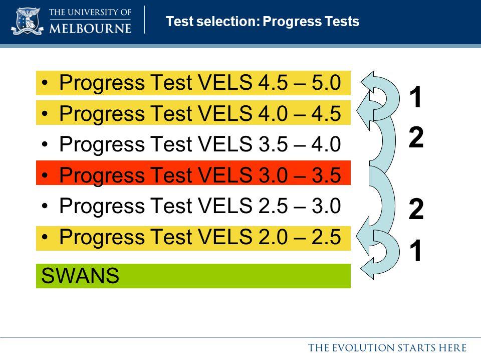 Progress Test VELS 4.5 – 5.0 Progress Test VELS 4.0 – 4.5 Progress Test VELS 3.5 – 4.0 Progress Test VELS 3.0 – 3.5 Progress Test VELS 2.5 – 3.0 Progr