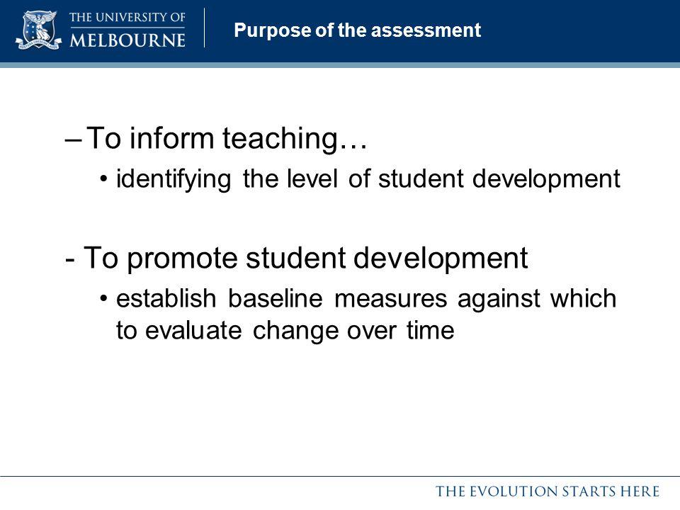 Purpose of the assessment –To inform teaching… identifying the level of student development - To promote student development establish baseline measur