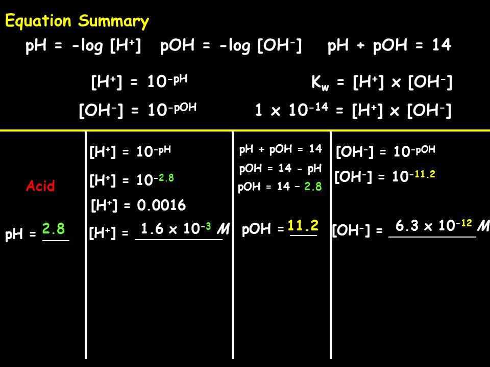 [H + ] = __________ pH = ___ pH + pOH = 14 1.6 x 10 -3 M Acid 2.8 pH = -log [H + ]pOH = -log [OH - ] [H + ] = 10 -pH [OH - ] = 10 -pOH K w = [H + ] x [OH - ] 1 x 10 -14 = [H + ] x [OH - ] Equation Summary [H + ] = 10 -pH [OH - ] = __________ pOH = ___ [H + ] = 10 -2.8 pH + pOH = 14 pOH = 14 - pH pOH = 14 – 2.8 11.2 [OH - ] = 10 -pOH [OH - ] = 10 -11.2 6.3 x 10 -12 M [H + ] = 0.0016