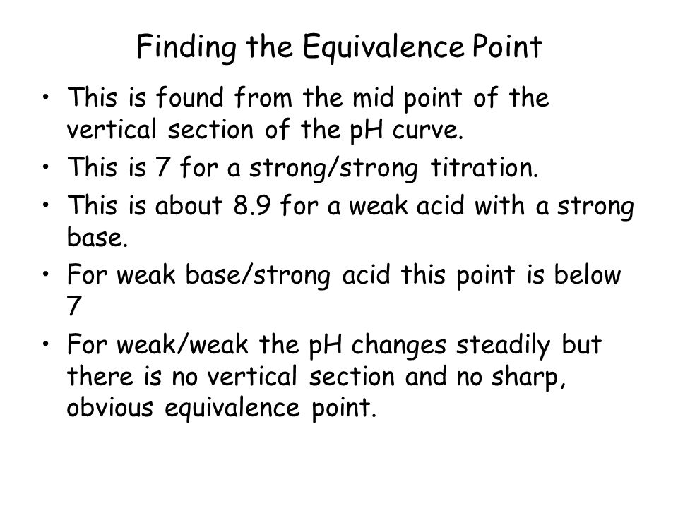 Finding the Equivalence Point This is found from the mid point of the vertical section of the pH curve.