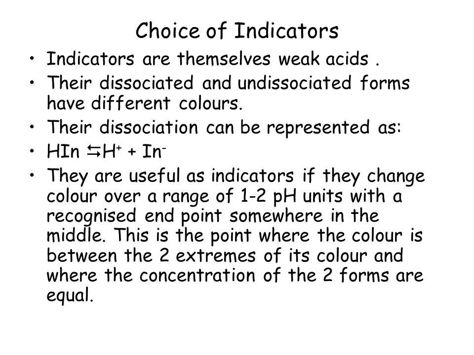 Choice of Indicators Indicators are themselves weak acids.