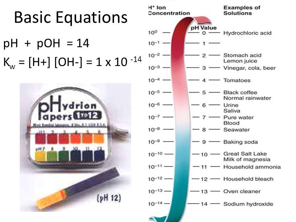 Basic Equations pH + pOH = 14 K w = [H+] [OH-] = 1 x 10 -14