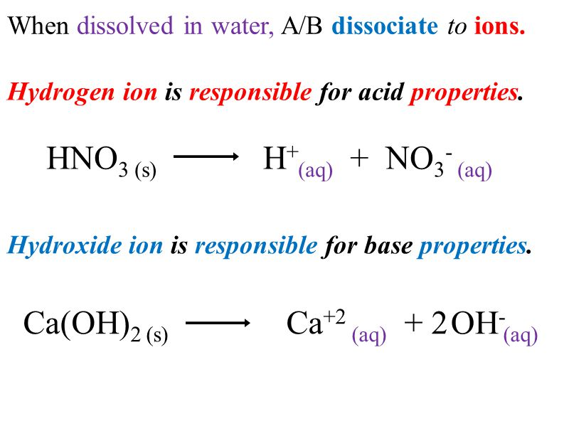 When dissolved in water, A/B dissociate to ions.