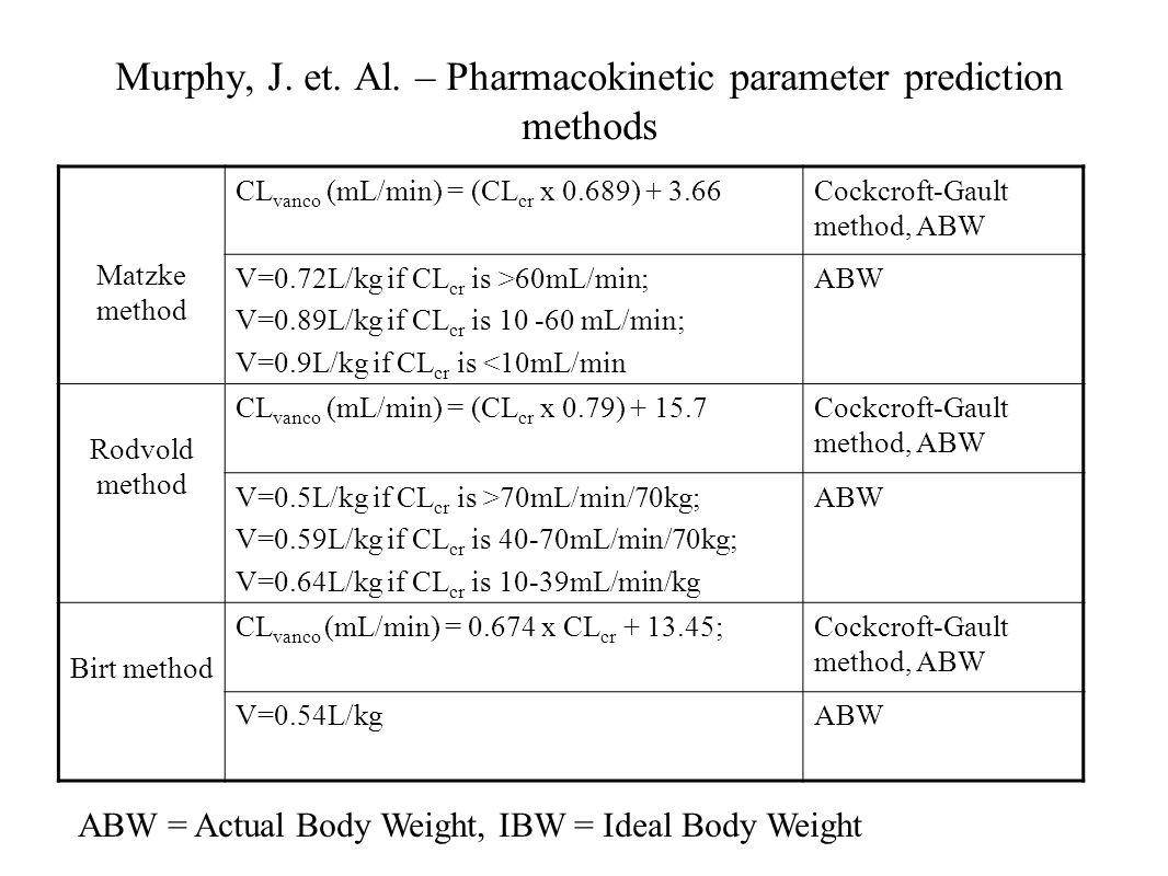 Murphy, J. et. Al. – Pharmacokinetic parameter prediction methods Matzke method CL vanco (mL/min) = (CL cr x 0.689) + 3.66Cockcroft-Gault method, ABW