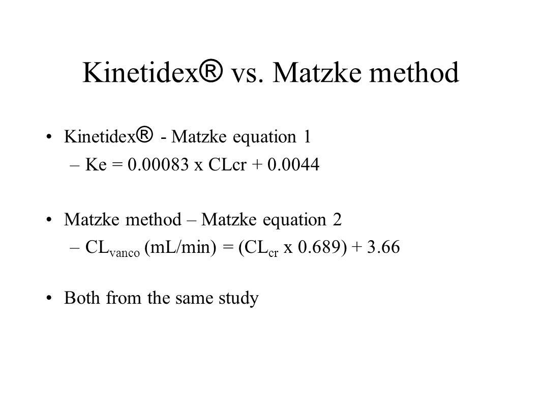 Kinetidex ® vs. Matzke method Kinetidex ® - Matzke equation 1 –Ke = 0.00083 x CLcr + 0.0044 Matzke method – Matzke equation 2 –CL vanco (mL/min) = (CL