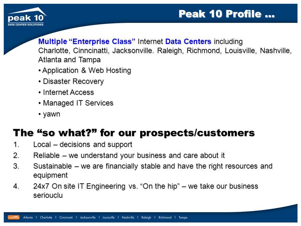 Multiple Enterprise Class Internet Data Centers including Charlotte, Cinncinatti, Jacksonville.
