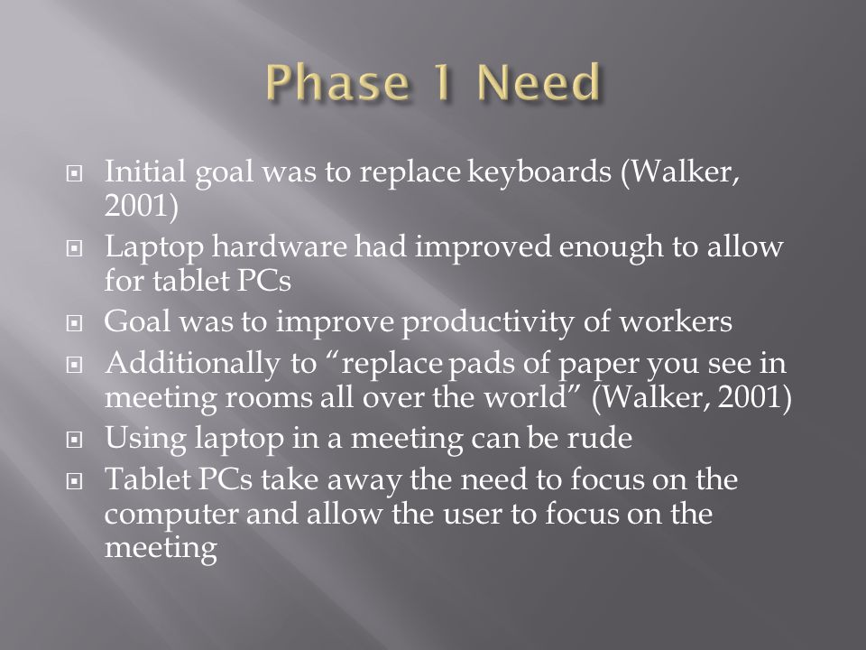  Initial goal was to replace keyboards (Walker, 2001)  Laptop hardware had improved enough to allow for tablet PCs  Goal was to improve productivit
