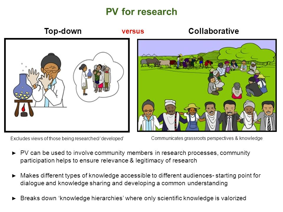PV for research ► PV can be used to involve community members in research processes, community participation helps to ensure relevance & legitimacy of research ► Makes different types of knowledge accessible to different audiences- starting point for dialogue and knowledge sharing and developing a common understanding ► Breaks down 'knowledge hierarchies' where only scientific knowledge is valorized Collaborative versus Top-down Excludes views of those being researched/'developed' Communicates grassroots perspectives & knowledge