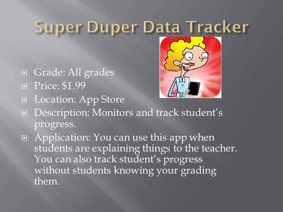  Grade: All grades  Price: $1.99  Location: App Store  Description: Monitors and track student's progress.
