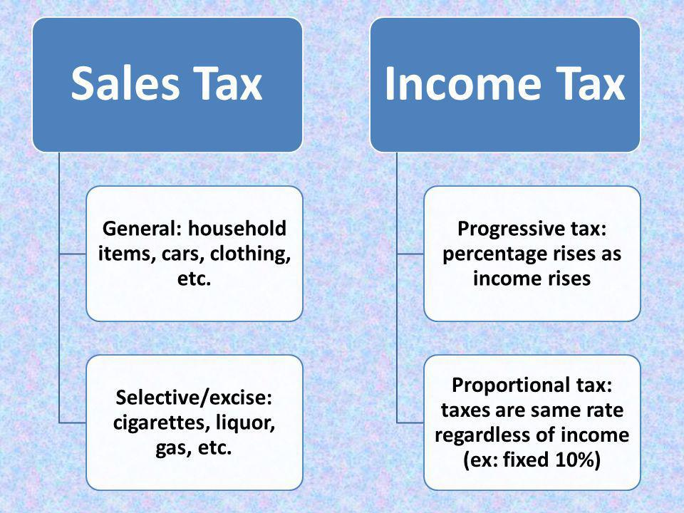 Sales Tax General: household items, cars, clothing, etc. Selective/excise: cigarettes, liquor, gas, etc. Income Tax Progressive tax: percentage rises