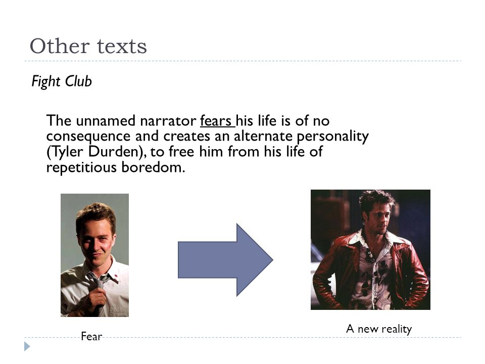 Other texts Fight Club The unnamed narrator fears his life is of no consequence and creates an alternate personality (Tyler Durden), to free him from his life of repetitious boredom.