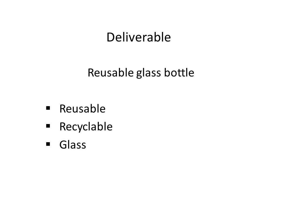 Deliverable Reusable glass bottle  Reusable  Recyclable  Glass