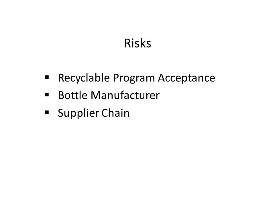 Risks  Recyclable Program Acceptance  Bottle Manufacturer  Supplier Chain