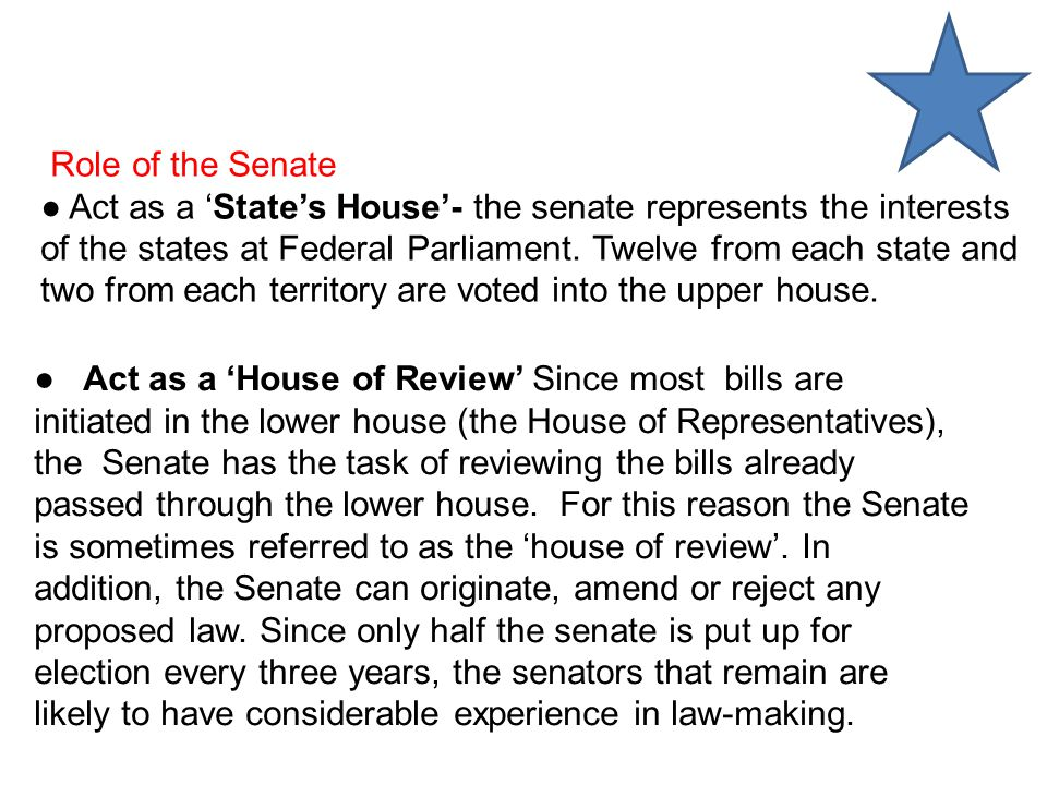 Role of the Senate ● Act as a 'State's House'- the senate represents the interests of the states at Federal Parliament.