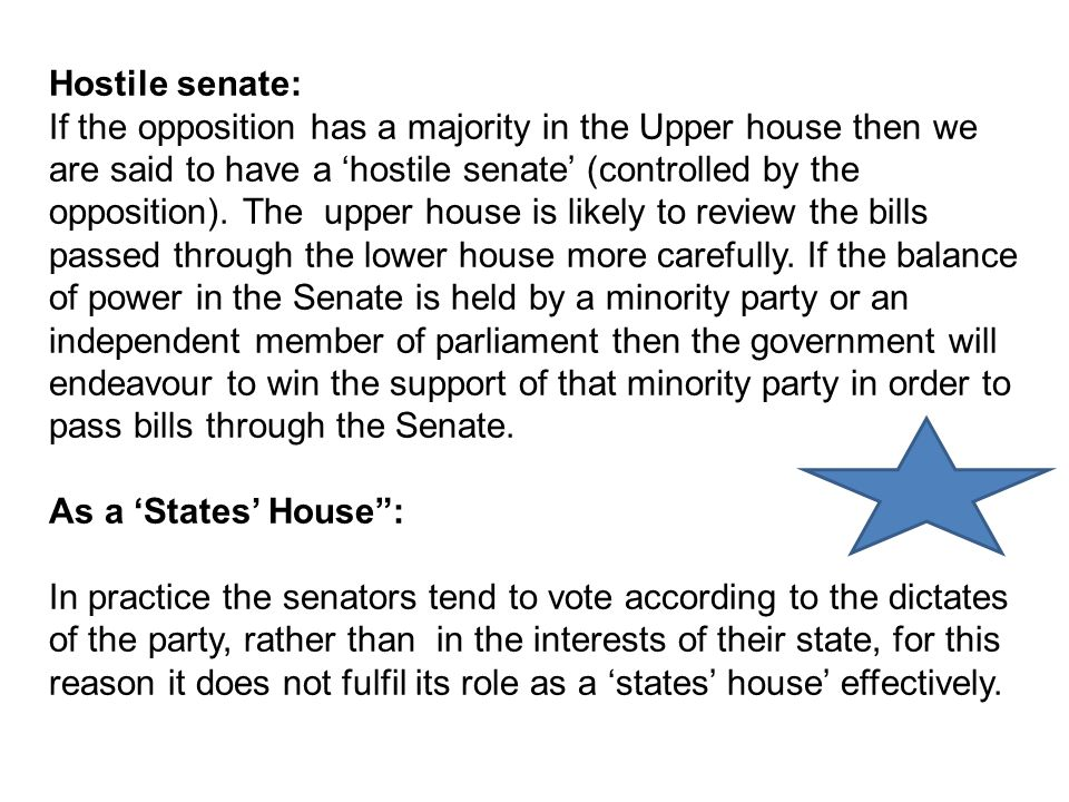 Hostile senate: If the opposition has a majority in the Upper house then we are said to have a 'hostile senate' (controlled by the opposition).