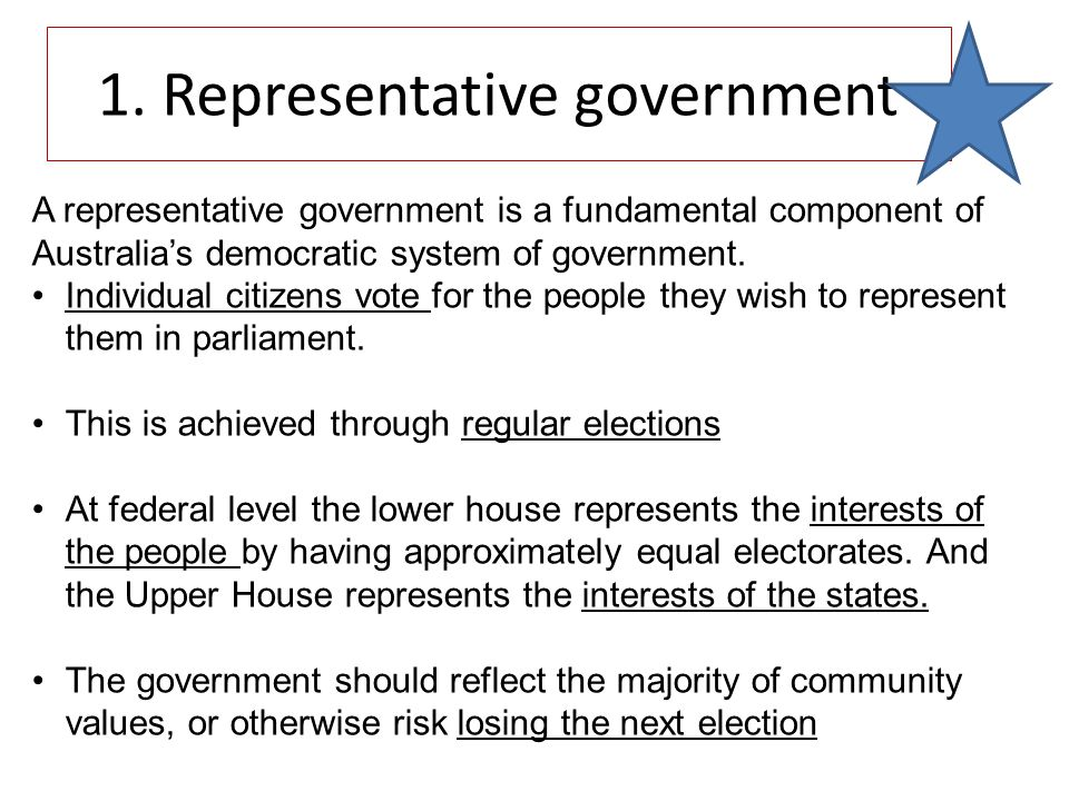 A representative government is a fundamental component of Australia's democratic system of government.