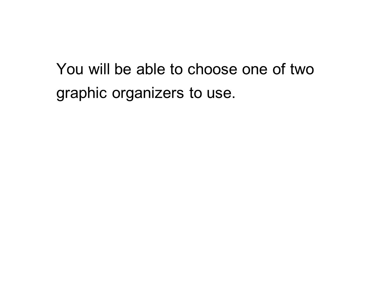 You will be able to choose one of two graphic organizers to use.