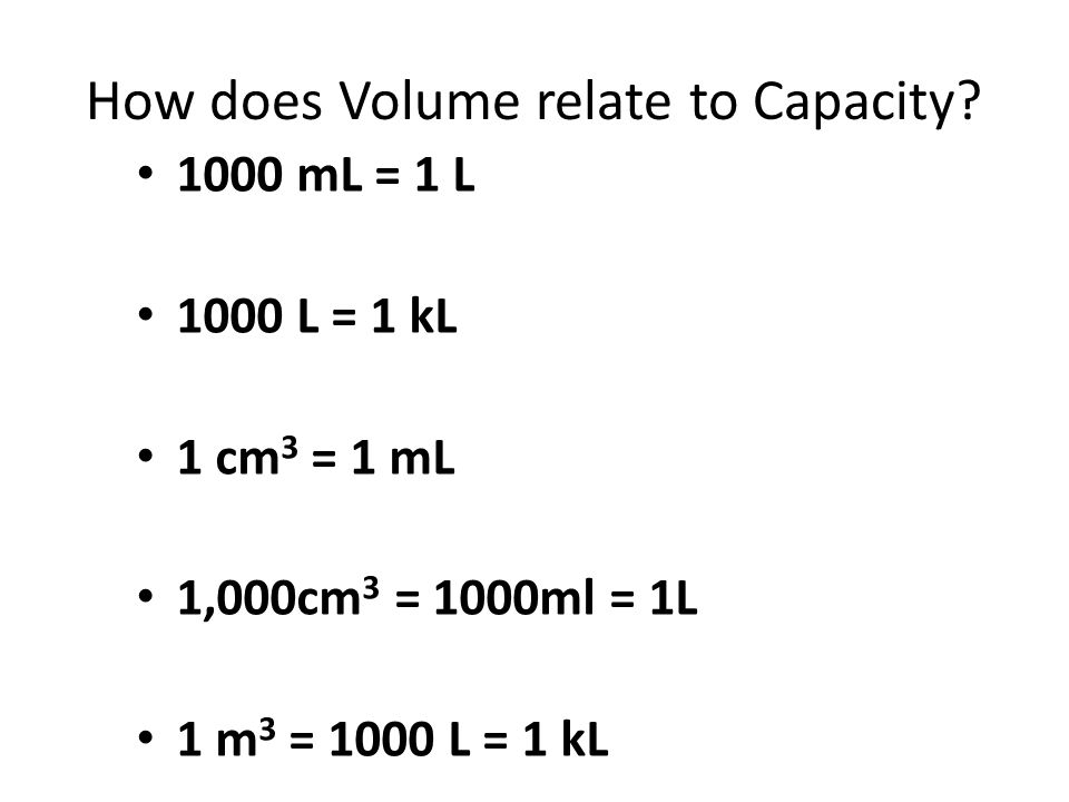 How does Volume relate to Capacity.