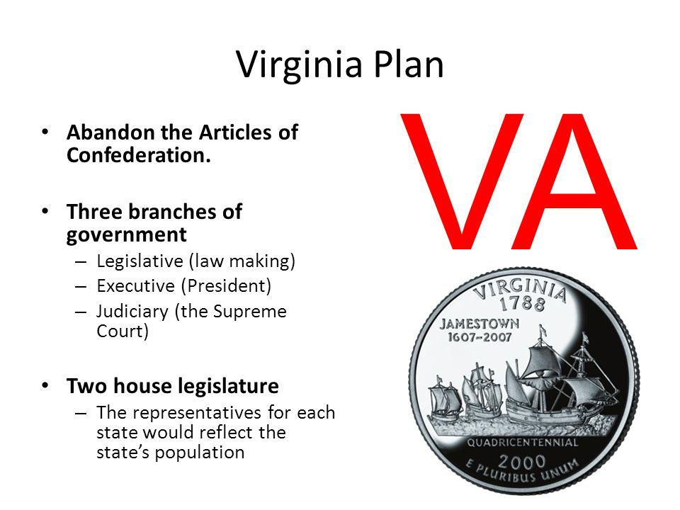 Virginia Plan Abandon the Articles of Confederation. Three branches of government – Legislative (law making) – Executive (President) – Judiciary (the
