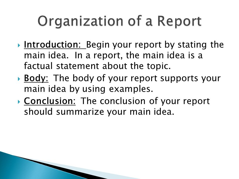  Tells what the report is about. Grabs the reader's attention.