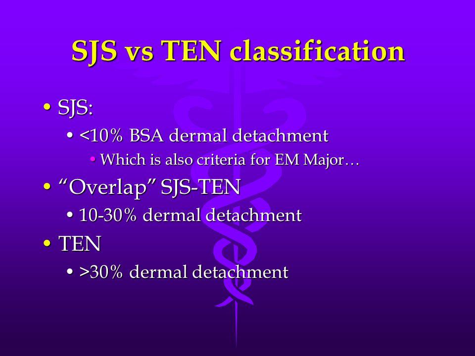 SJS vs TEN classification SJS:SJS: <10% BSA dermal detachment<10% BSA dermal detachment Which is also criteria for EM Major…Which is also criteria for EM Major… Overlap SJS-TEN Overlap SJS-TEN 10-30% dermal detachment10-30% dermal detachment TENTEN >30% dermal detachment>30% dermal detachment