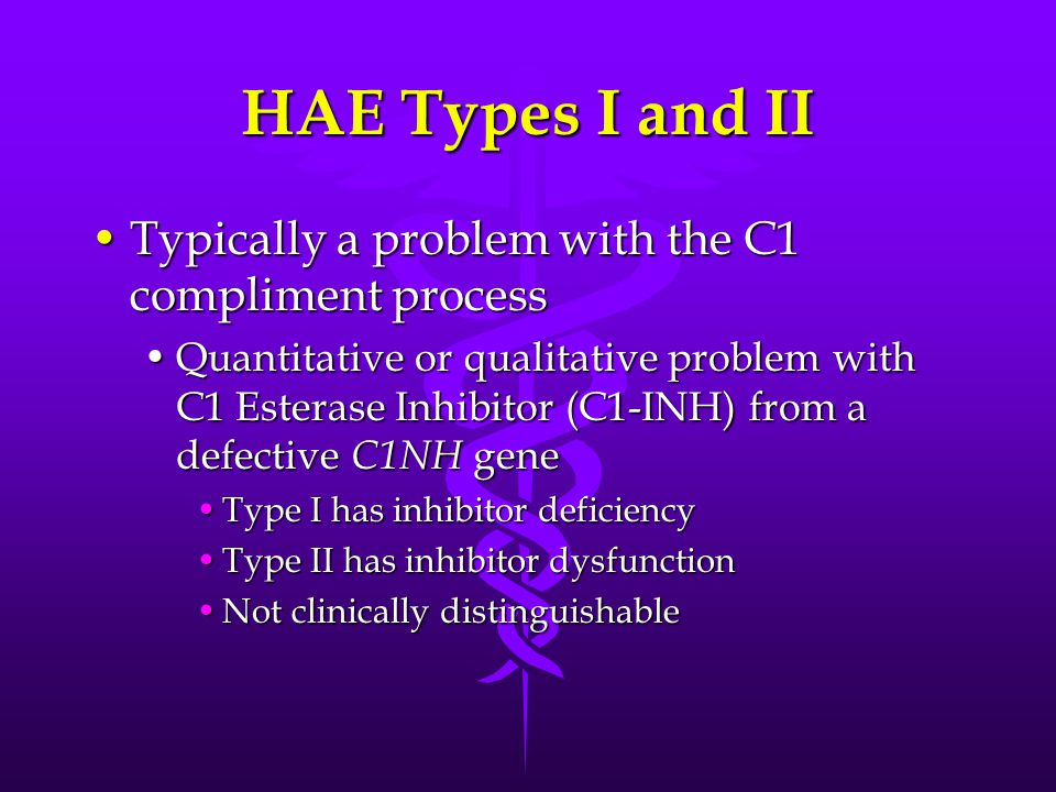 HAE Types I and II Typically a problem with the C1 compliment processTypically a problem with the C1 compliment process Quantitative or qualitative problem with C1 Esterase Inhibitor (C1-INH) from a defective C1NH geneQuantitative or qualitative problem with C1 Esterase Inhibitor (C1-INH) from a defective C1NH gene Type I has inhibitor deficiencyType I has inhibitor deficiency Type II has inhibitor dysfunctionType II has inhibitor dysfunction Not clinically distinguishableNot clinically distinguishable