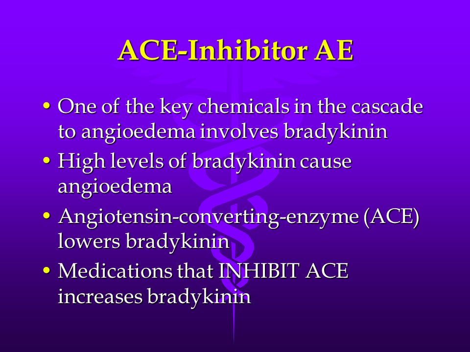 ACE-Inhibitor AE One of the key chemicals in the cascade to angioedema involves bradykininOne of the key chemicals in the cascade to angioedema involves bradykinin High levels of bradykinin cause angioedemaHigh levels of bradykinin cause angioedema Angiotensin-converting-enzyme (ACE) lowers bradykininAngiotensin-converting-enzyme (ACE) lowers bradykinin Medications that INHIBIT ACE increases bradykininMedications that INHIBIT ACE increases bradykinin