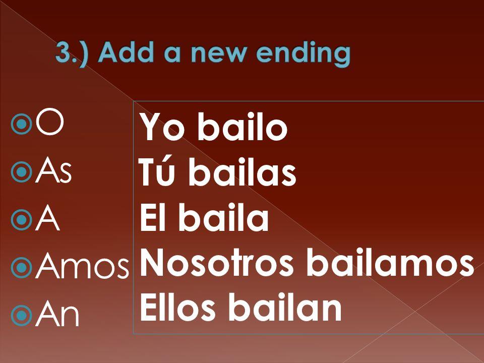  O  As  A  Amos  An Yo bailo Tú bailas El baila Nosotros bailamos Ellos bailan