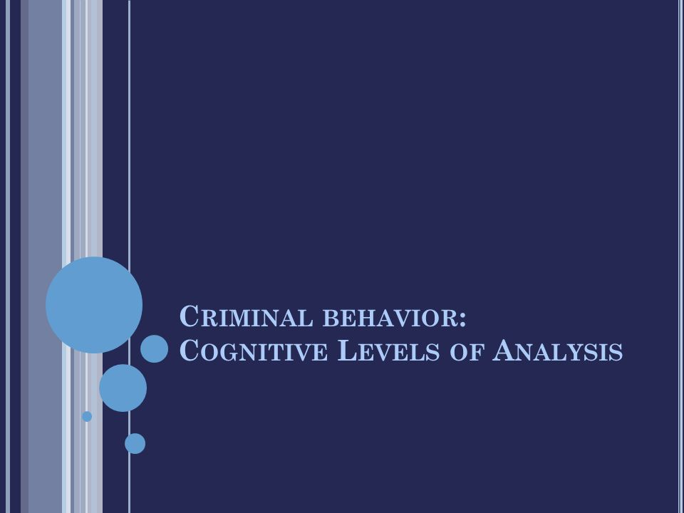 C RIMINAL BEHAVIOR : C OGNITIVE L EVELS OF A NALYSIS