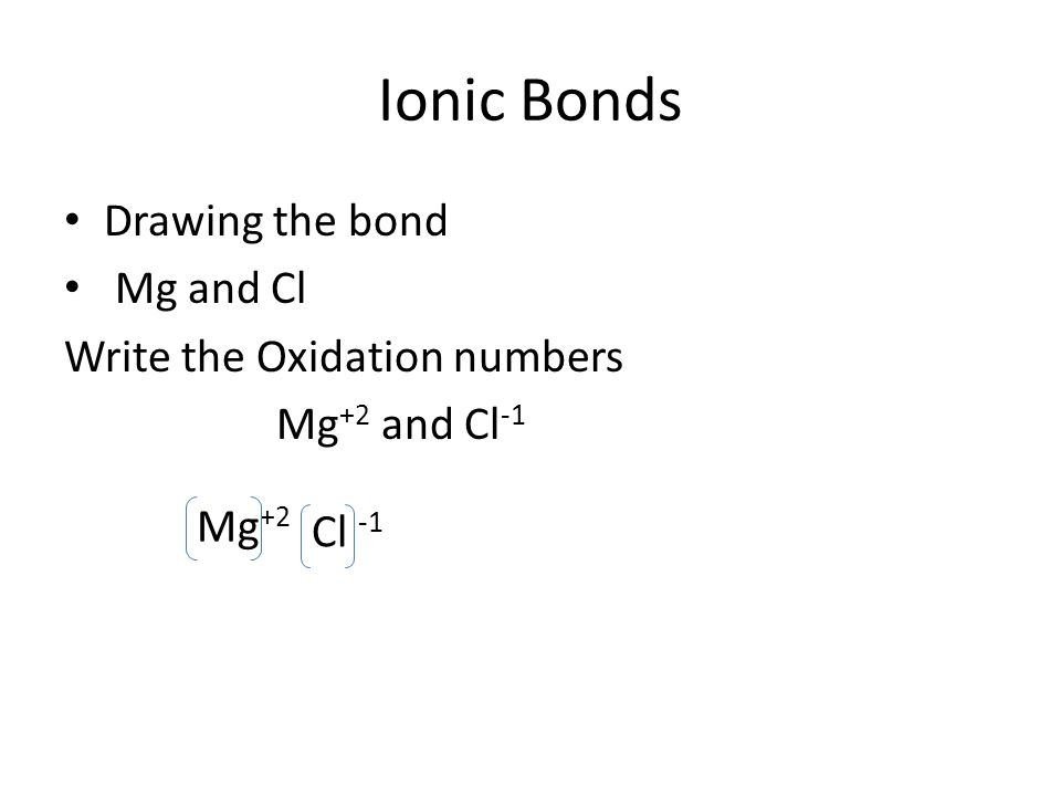 Ionic Bonds Drawing the bond Mg and Cl Write the Oxidation numbers Mg +2 and Cl -1 Mg +2 Cl -1