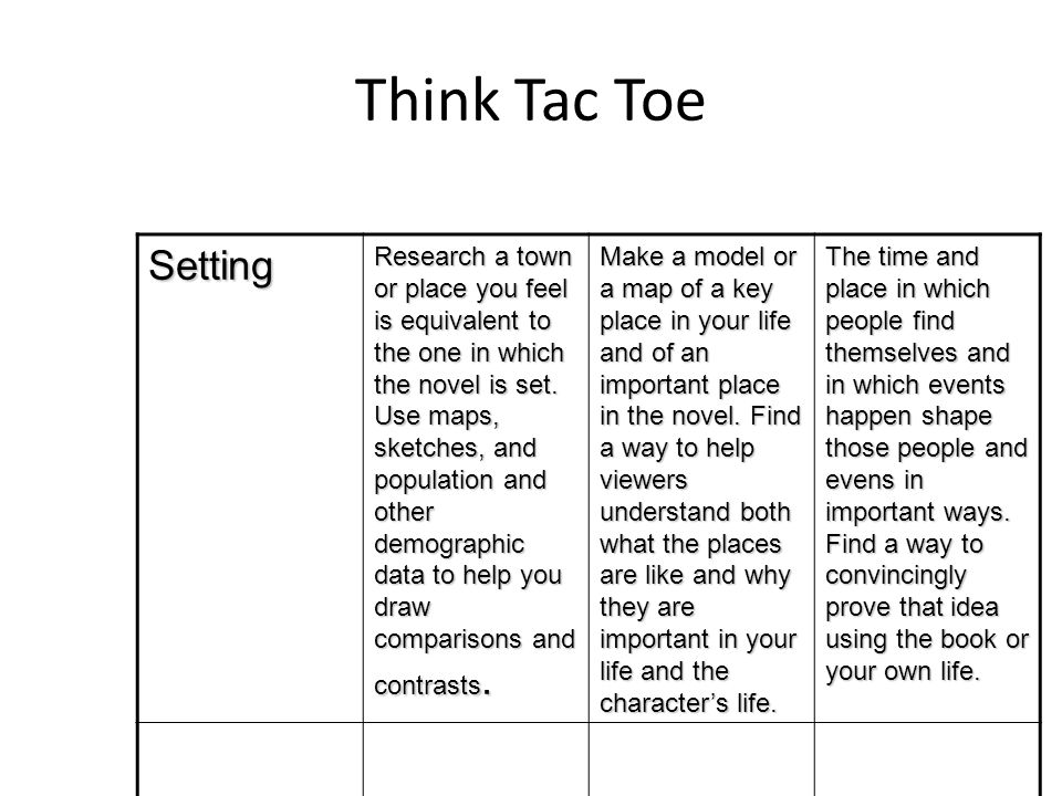 Think Tac Toe Setting Research a town or place you feel is equivalent to the one in which the novel is set.
