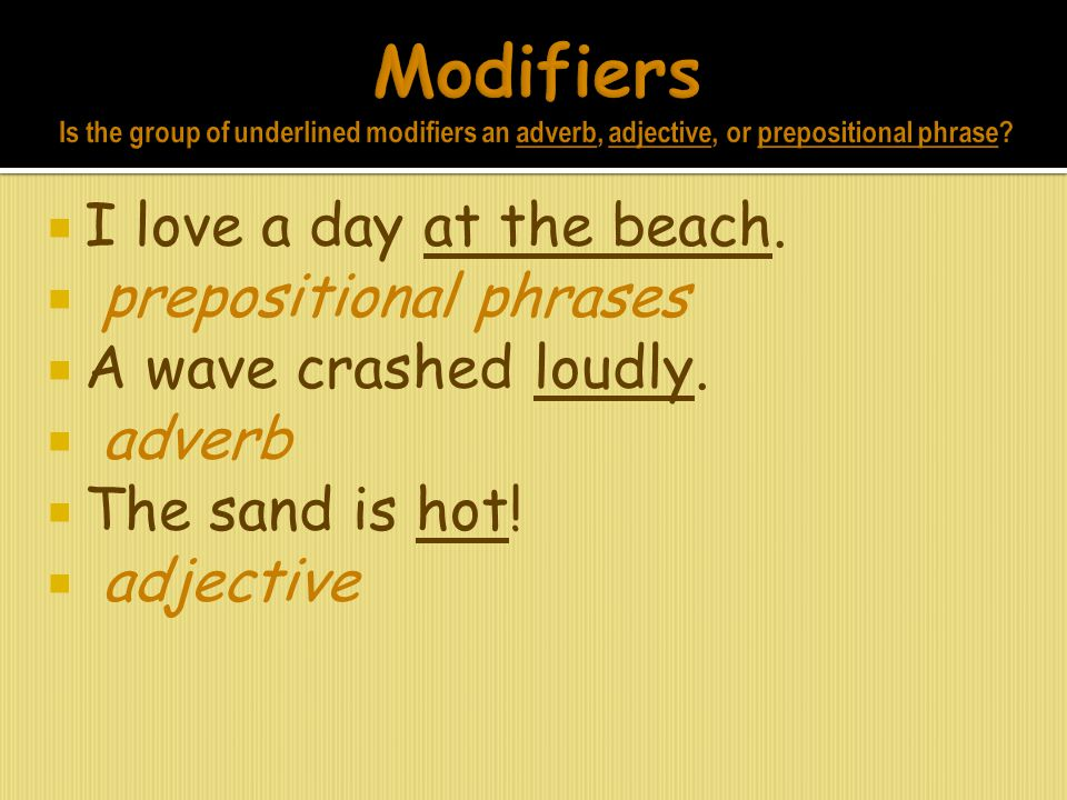  I love a day at the beach.  prepositional phrases  A wave crashed loudly.  adverb  The sand is hot!  adjective