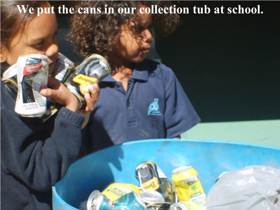We put the cans in our collection tub at school.