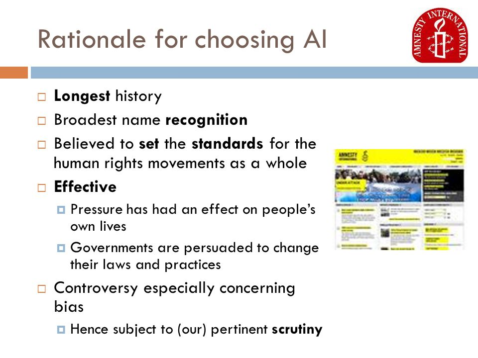 Rationale for choosing AI  Longest history  Broadest name recognition  Believed to set the standards for the human rights movements as a whole  Effective  Pressure has had an effect on people's own lives  Governments are persuaded to change their laws and practices  Controversy especially concerning bias  Hence subject to (our) pertinent scrutiny