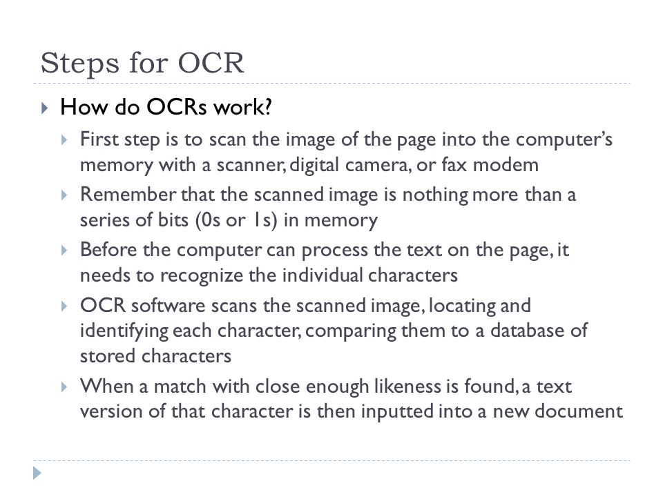 Steps for OCR  How do OCRs work.
