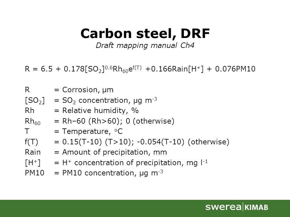 Carbon steel, DRF Draft mapping manual Ch4 R = 6.5 + 0.178[SO 2 ] 0.6 Rh 60 e f(T) +0.166Rain[H + ] + 0.076PM10 R= Corrosion, µm [SO 2 ]= SO 2 concent