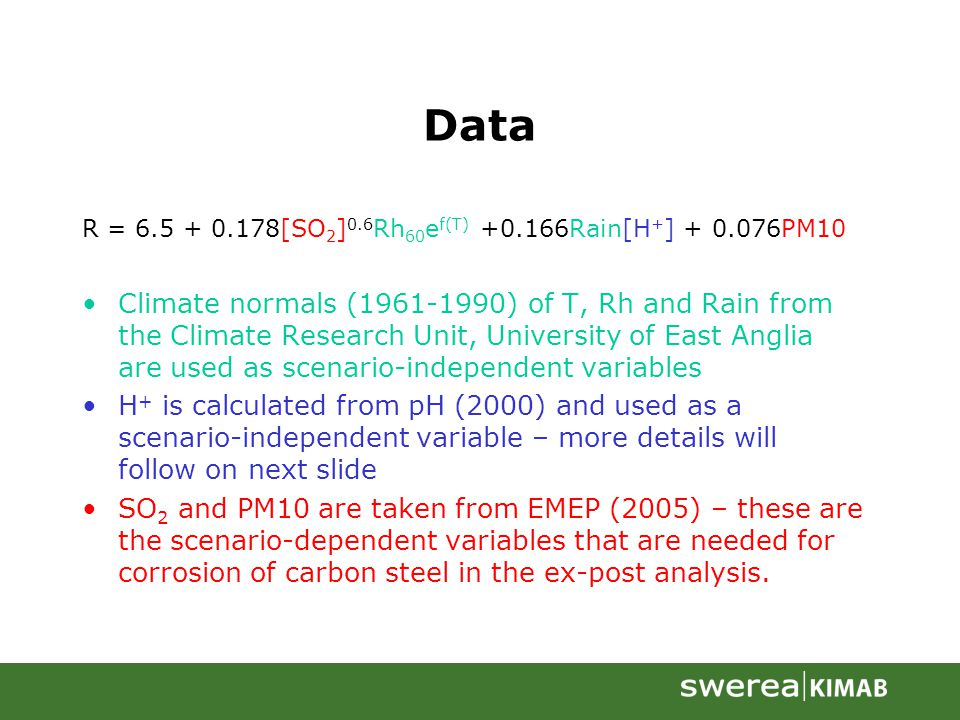 Data R = 6.5 + 0.178[SO 2 ] 0.6 Rh 60 e f(T) +0.166Rain[H + ] + 0.076PM10 Climate normals (1961-1990) of T, Rh and Rain from the Climate Research Unit