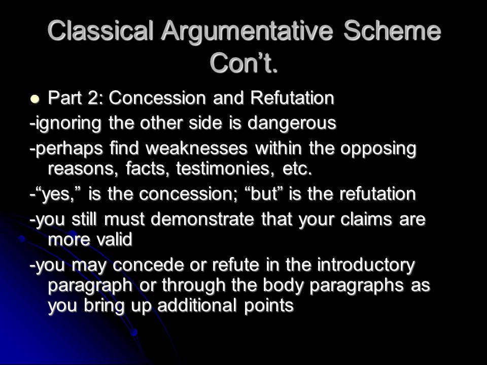 Classical Argumentative Scheme Con't. Part 2: Concession and Refutation Part 2: Concession and Refutation -ignoring the other side is dangerous -perha