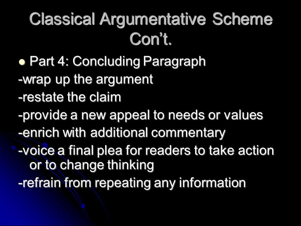 Classical Argumentative Scheme Con't. Part 4: Concluding Paragraph Part 4: Concluding Paragraph -wrap up the argument -restate the claim -provide a ne