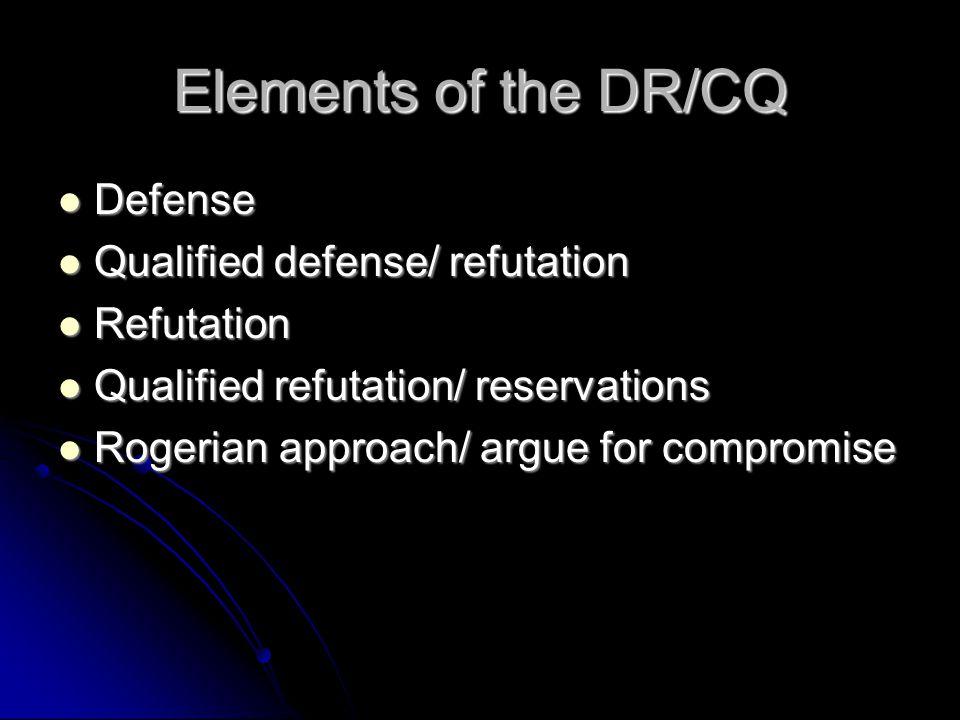 Elements of the DR/CQ Defense Defense Qualified defense/ refutation Qualified defense/ refutation Refutation Refutation Qualified refutation/ reservat