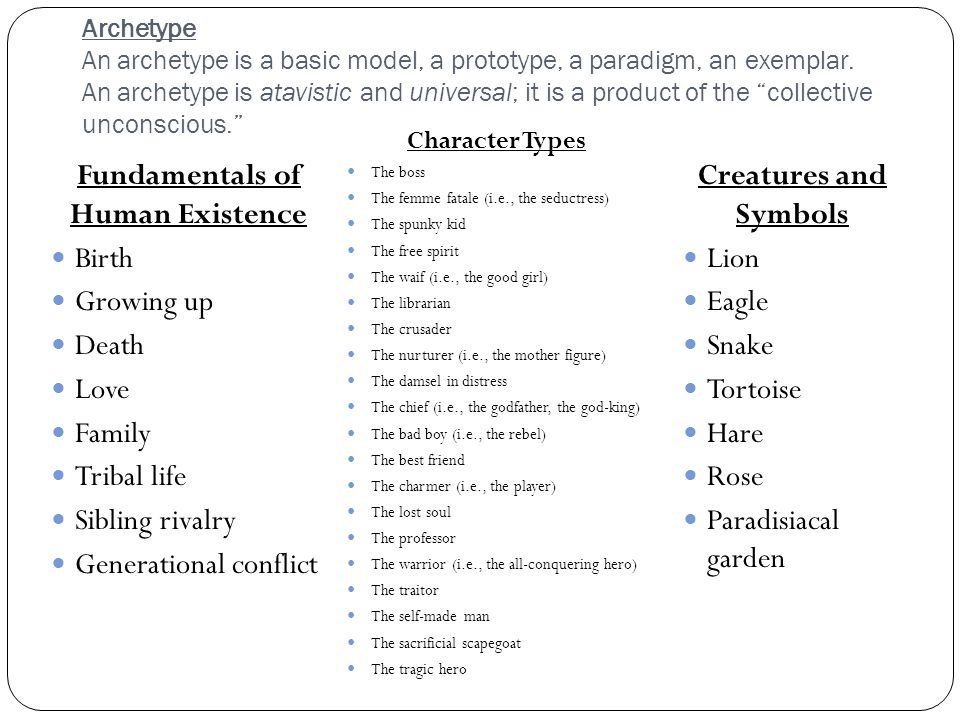 "Archetype An archetype is a basic model, a prototype, a paradigm, an exemplar. An archetype is atavistic and universal; it is a product of the ""collec"