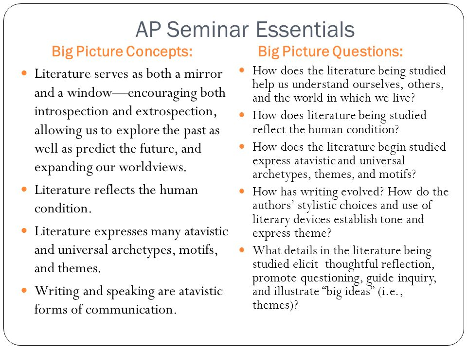 AP Seminar Essentials Big Picture Concepts: Literature serves as both a mirror and a window—encouraging both introspection and extrospection, allowing