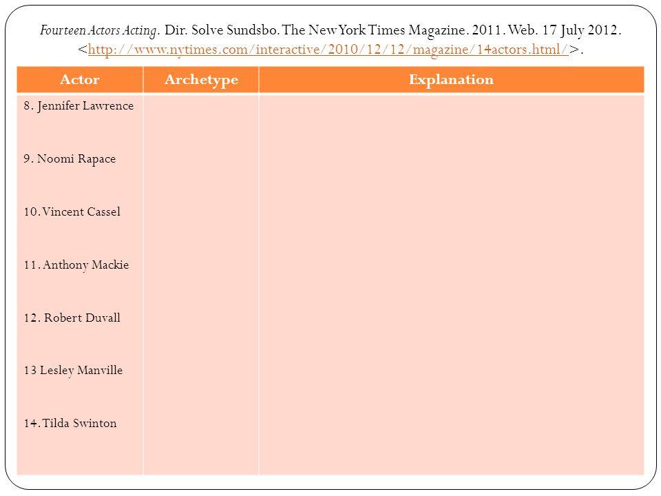 Fourteen Actors Acting.Dir. Solve Sundsbo. The New York Times Magazine.