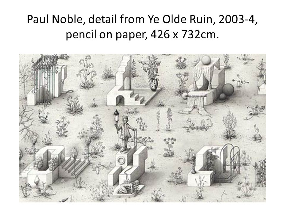 Paul Noble, detail from Ye Olde Ruin, 2003-4, pencil on paper, 426 x 732cm.